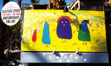 'Barnyard Conversation' by Lois Niesen with gallery sign